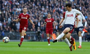 Son Heung-min scores in Tottenham's 4-1 win at home to Liverpool last season – but even towards the end of this game there was carelessness.