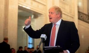 Boris Johnson speaking at Stormont.