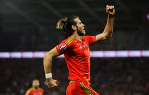 Gareth Bale celebrates after scoring the final goal of the successful campaign.
