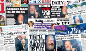 Front pages of the UK papers on Friday, 12 April, following the arrest of Julian Assange