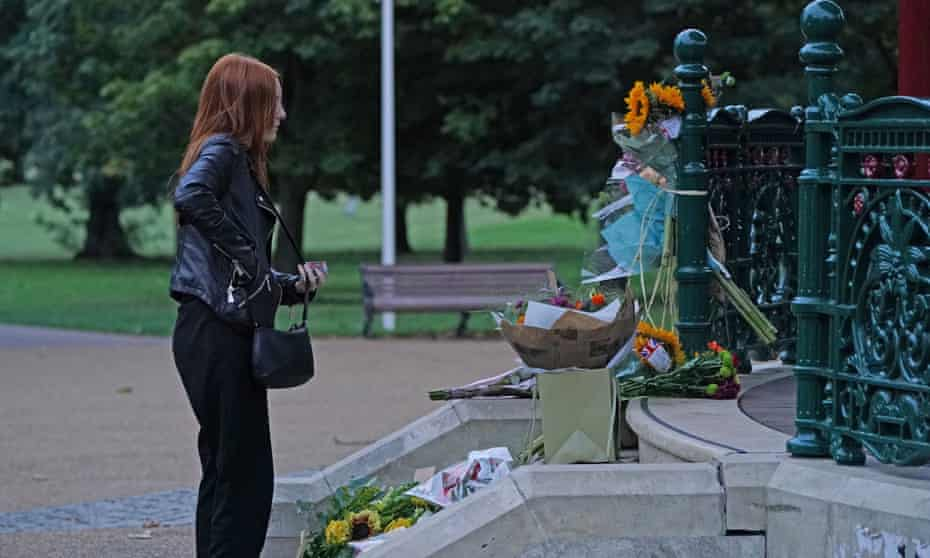 Patsy Stevenson, who was arrested at the vigil for Sarah Everard, lays the candle she was prevented from laying at Clapham Common, London.