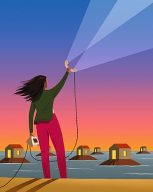 Illustration of woman holding phone up to lots of houses