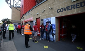 Supporters make their way into The Valley to watch Charlton against Doncaster.