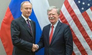 Nikolai Patrushev (left) and John Bolton