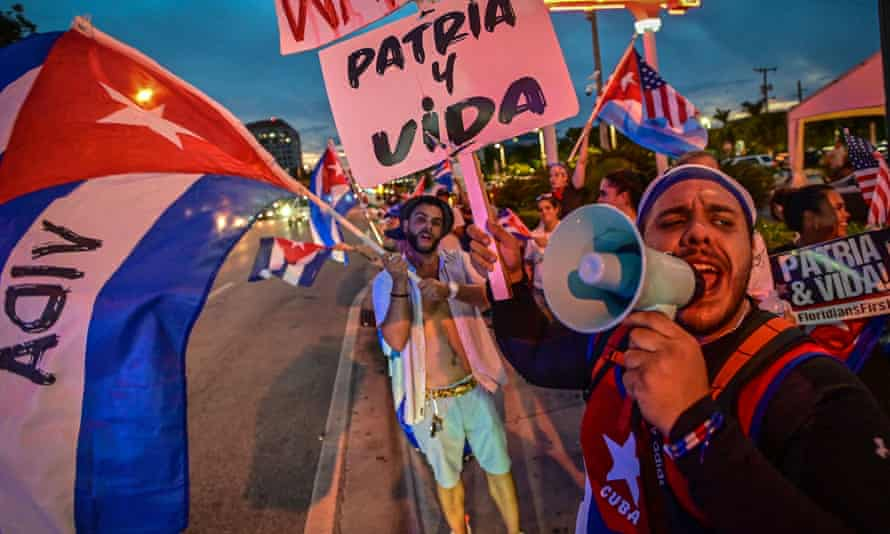 Protesters gather in Little Havana, Miami to protest against the communist government in Cuba. Florida is home to more than 1.5m exiles and first and second-generation Cuban-Americans.