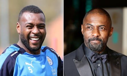 Leicester's victorious captain Wes Morgan; and Idris Elba.