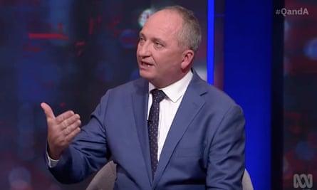Australian National party MP Barnaby Joyce on Q+A