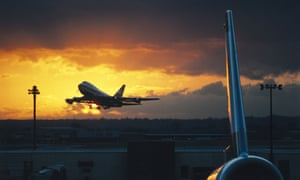 A Boeing 747 taking off from London Heathrow