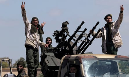 Libyan National Army members heading Benghazi to reinforce the troops advancing to Tripoli.