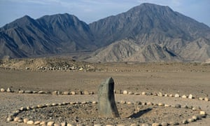 The Huanca monolith in the Caral archaeological complex.