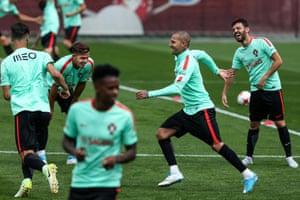 Ricardo Quaresma, Bernardo Silva and Andre Silva in good spirits at Rubin Stadium in Kazan.