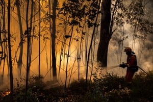 A member of the Spanish army's military emergency unit attempts to control an active forest fire in Toen Galicia.