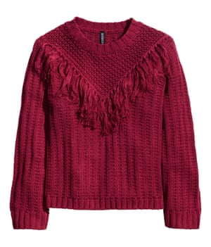 Red chunky fringed jumper