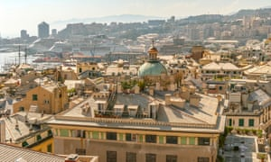 A view over rooftops in Genoa, Italy.
