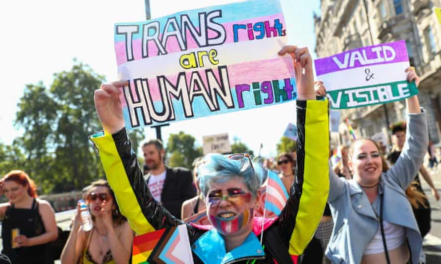 'Trans rights are human rights': Protestors on the first-ever Trans Pride march in London, September 2019.