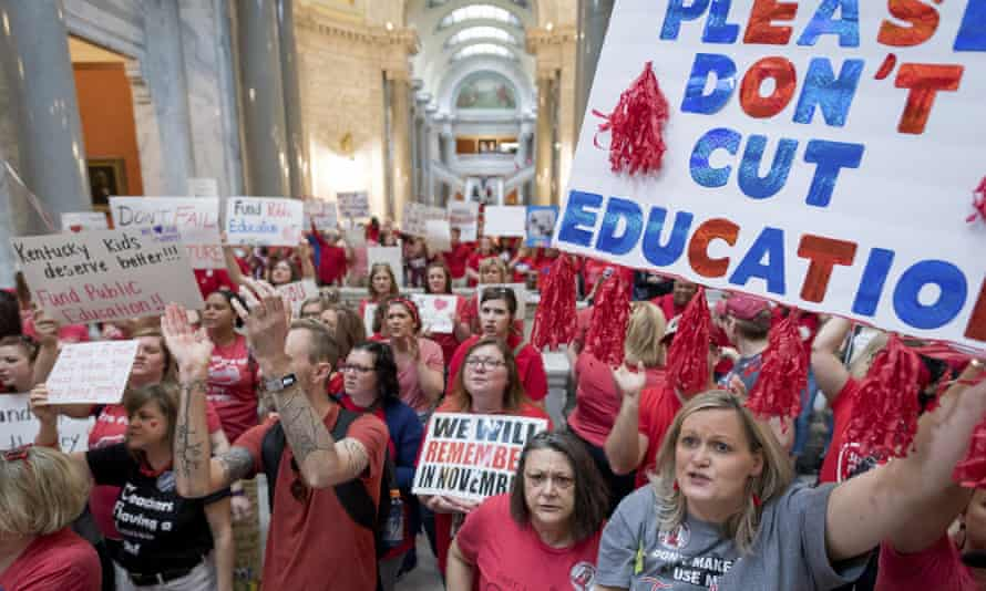 Teachers from Kentucky gather inside the state Capitol in April to rally for increased funding.