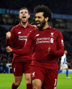 Mohamed Salah celebrates scoring from the penalty spot to earn Liverpool a 1-0 win. Salah has scored the opening goal in nine Premier League games this season; at least three more than any other player.