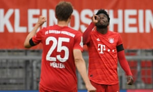 Bayern Munich's Alphonso Davies celebrates scoring their fourth goal.