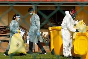Hazardous waste is removed from St Basil's Homes for the Aged in Fawkner in Melbourne, where there has been. acoronavirus outbreak.