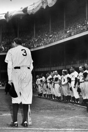 Babe Ruth at the 25th anniversary of the opening of Yankee Stadium in New York in 1948.