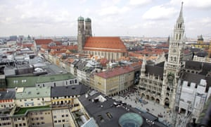 The skyline in the city center of Munich, Germany.