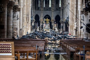 A view of the debris inside Notre-Dame in the aftermath of the fire that devastated the cathedral.