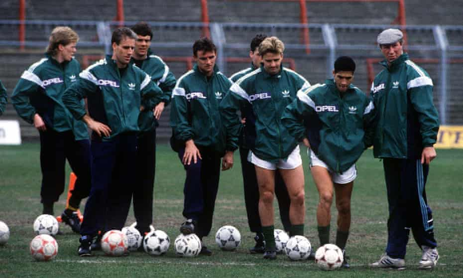 Jack Charlton leads a training session in early 1990.