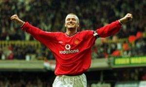 David Beckham celebrates scoring the fifth goal for Manchester United at White Hart Lane in 2001.
