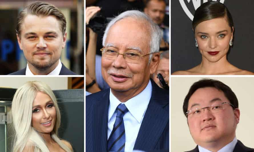 (M) Former Malaysian prime minister Najib Razak. (L-Top) Leonardo di Caprio. (L-Bottom) Paris Hilton. (R-Top) Miranda Kerr. (R-Bottom) Jho Low, fugitive connected with the Malaysian 1MDB scandal.