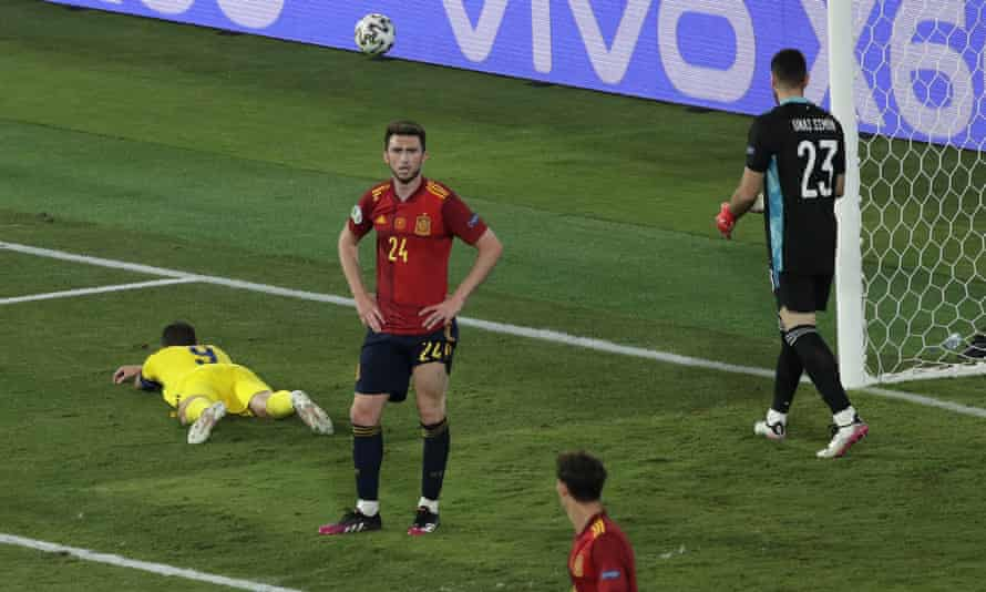 Sweden's Marcus Berg (No 9) reacts after missing the game's best opportunity.
