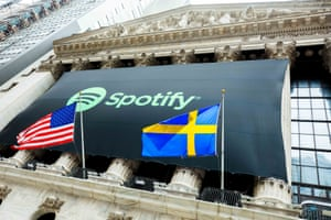 The Spotify logo on the facade of the New York Stock Exchange, as it celebrated its stock exchange listing in April 2018.
