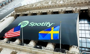 Spotify lists on the New York Stock Exchange in 2018.