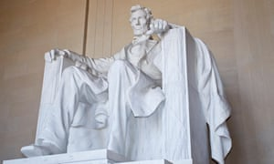 Lincoln memorial showing sculpture of Abraham Lincoln.
