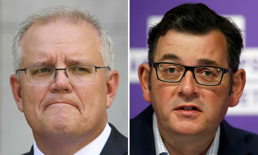 Scott Morrison has lashed out at the Victorian premier Daniel Andrews (right) after he announced that Melbourne will have to wait longer to take significant steps out of Covid-19 lockdown as health authorities await results from an outbreak in Melbourne's north.
