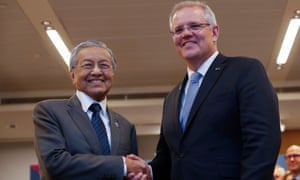The Malaysian prime minister, Mahathir Mohamad, with Scott Morrison during a bilateral meeting on the sidelines of Asean in Singapore