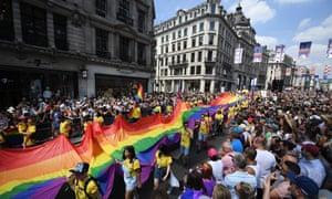 Pride parade in London in 2018