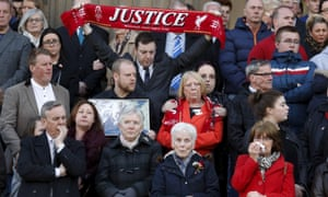 Families of the 96 Hillsborough victims during a vigil in Liverpool.