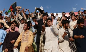 Fans enjoy the Afghanistan Premier League match between De Maiwand Atalan and Simorgh Alborz in Kabul.