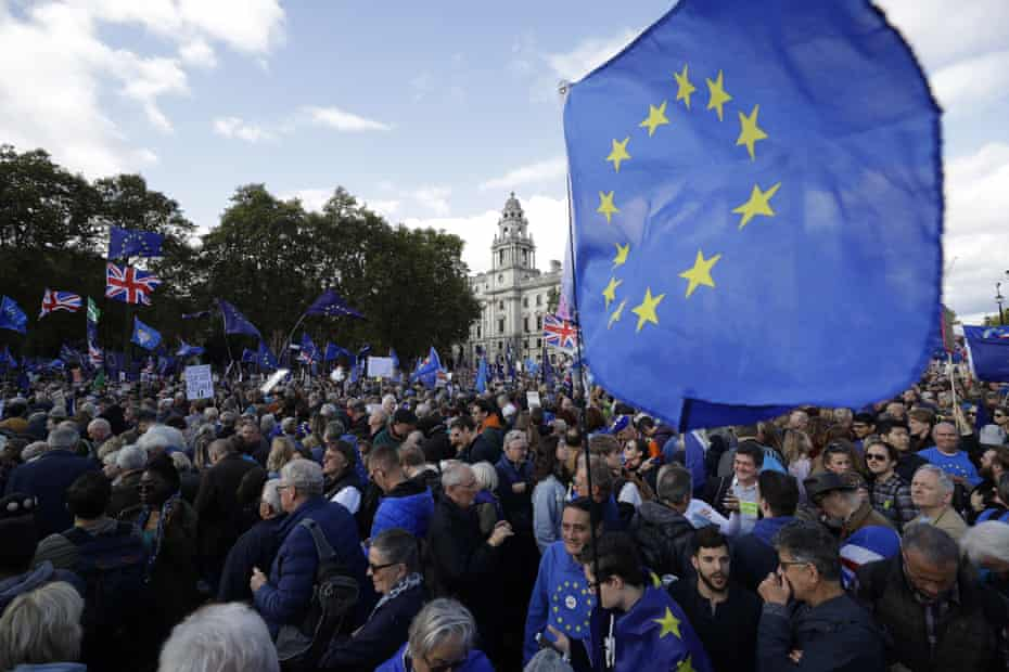 An anti-Brexit march in London, during which protesters called for a second referendum to remain in the EU.