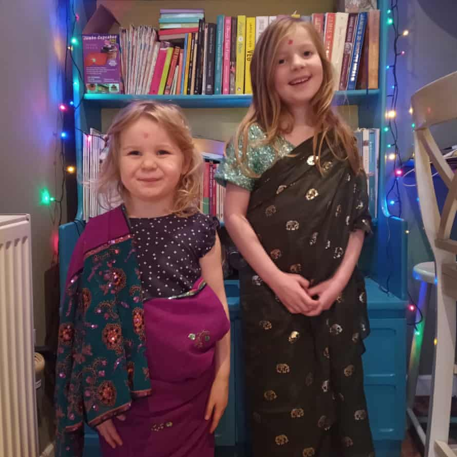 Reader Amanda's two girls in saris for India night