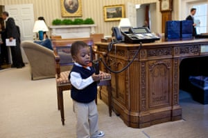 7 February: 'Kids will be kids. After the president had welcomed Lauren Fleming, the March of Dimes national ambassador, and her family in the Oval Office, her brother, Corbin Fleming, started to play with the president's telephone. Fortunately, he wasn't able to get through to a head of state'