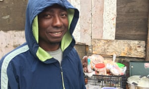 Abdul Karim, a migrant from Ghana, prepares lunch at a shelter in Tijuana, Mexico.