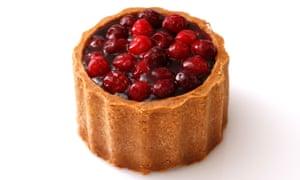 Cranberry-topped pork pie.
