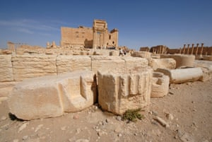 A general view shows the Temple of Bel in the historical city of Palmyra, Syria April 18, 2008.