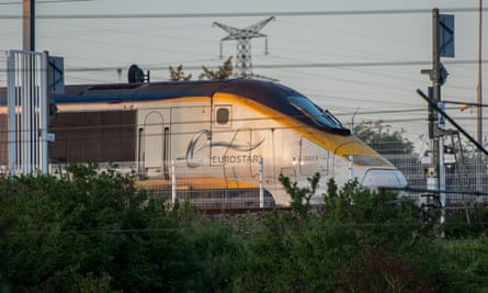 A Eurostar train is delayed by the disruption at the Calais-Frethun train station