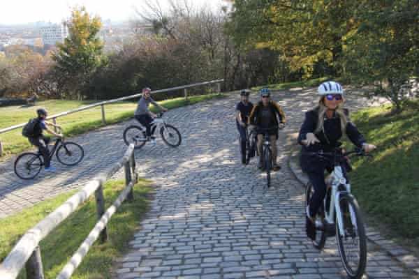 Gliding up a steep cobbled path in Munich's Olympic Park on BMW's Active Hybrid