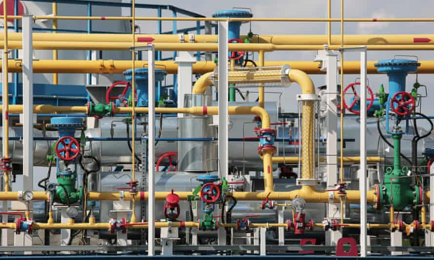 coloured mass of interwoven gas pipes