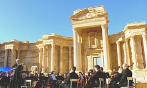 A Russian orchestra plays in the ruins of Palmyra in 2016.
