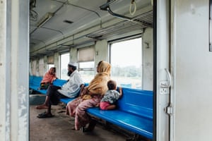 Rohingya passengers on board the Sittwe-Zaw Pu Gyar train, in the compartment they are obliged to sit in