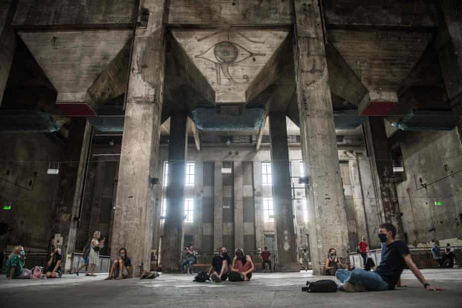 Visitors listen to the sound installation in Berghain, as part of the Studio Berlin gallery project.